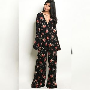 Pants - $16 TODAY ONLY Floral Jumpsuit Romper Leg Split
